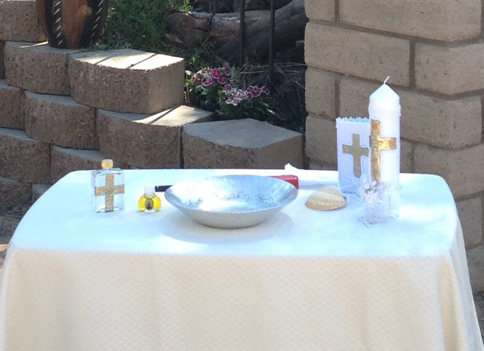 baptismal kit and table setup